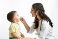 Doctor giving remedy to kid child Stock Images