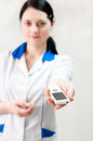 Doctor hands mobile phone Royalty Free Stock Images