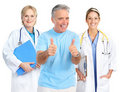 Doctor and healthy elderly man Stock Photo