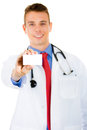 Doctor holding a blank business card Royalty Free Stock Photo