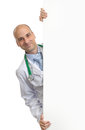 Doctor holding blank placard on white background Royalty Free Stock Photography