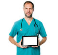 Doctor holding blank tablet Stock Images