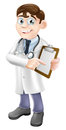 Doctor holding clipboard cartoon an illustration of a friendly a and pointing at it Stock Photography