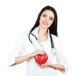 Doctor holding heart Stock Photos