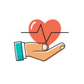 Doctor holding a heart in hand. Royalty Free Stock Photo