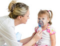 Doctor holding inhaler mask for kid breathing Royalty Free Stock Photo