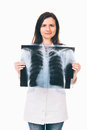 Doctor holding radiography in front of chest female is lung her isolated on white Stock Photos