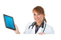 Doctor holding a tablet computer behind white card isolated on series featuring caucasian female and male patient in variety of Stock Photo