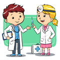Doctor kids playing to be a doctors Stock Image