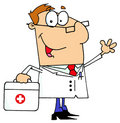 Doctor man carrying his first aid bag Stock Images