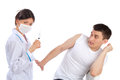 Doctor and man fear of syringe injections phobia Royalty Free Stock Photo