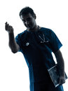 Doctor man silhouette portrait gesturing money Stock Photos