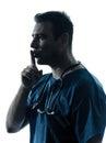 Doctor man surgeon hushing portrait  silhouette Royalty Free Stock Photo