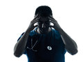 Doctor man tired headache silhouette portrait Royalty Free Stock Photo