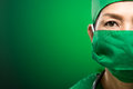 Doctor in mask copy spaced portrait of a female isolated on green Stock Image