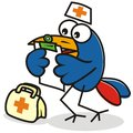 Doctor and medical record funny bird read chart Royalty Free Stock Photos