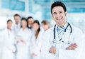 Doctor with medical staff happy at the hospital Royalty Free Stock Photos