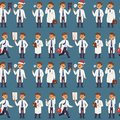 Doctor nurse character vector medical man staff seamless pattern background flat design hospital team people doctorate Royalty Free Stock Photo