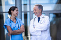 Doctor and nurse standing with arms crossed Royalty Free Stock Photo