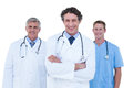 Doctor and nurse standing together doctors nurses on a white background Stock Image