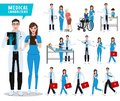 Doctor and nurse vector character set. Health care and medical workers with patients