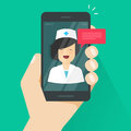 Doctor online on mobile phone vector illustration, flat cartoon woman doctor answers via cellphone on-line video tech Royalty Free Stock Photo