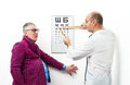 Doctor ophthalmologist bellied patient Royalty Free Stock Photography