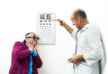 Doctor ophthalmologist patient funny Stock Photos