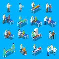 Doctor Patient Communication Isometric Icons Set
