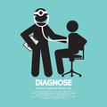 Doctor with patient diagnose concept black symbol vector illustration Stock Image