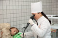 Doctor and patient during endoscopy Royalty Free Stock Photo