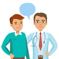 Doctor and patient. Man talking to physician. Vector