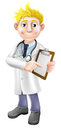 Doctor pointing at clipboard illustration of a young cartoon holding a and it Stock Photography