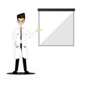 Doctor on presentation. Doctor with clipboard giving medical presentation.Vector Royalty Free Stock Photo