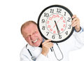 Doctor pressured by time closeup portrait of busy senior mature health care professional nurse and overwhelmed constraints Stock Photo