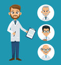 Doctor professional health- faces icon