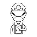 Doctor professional surgery mask hat clipboard thin line
