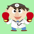 Doctor raise his boxing gloves Royalty Free Stock Photo