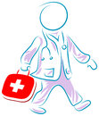 Doctor run to first aid brush stroke cartoon image Stock Photography