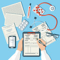 Doctor s workplace medical doctor working in clinic flat design vector Royalty Free Stock Photography