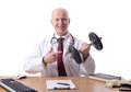 Doctor sat desk points to weight prescribing exercise isolated white Stock Photos