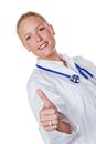 Doctor showing thumbs up a young female holding her thumb successfully in healthcare Royalty Free Stock Photos