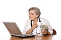 Doctor sitting at table Royalty Free Stock Photo