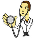Doctor with stethoscope ready for medical examination Royalty Free Stock Images