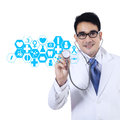 Doctor with stethoscope and virtual screen male isolated on white background Royalty Free Stock Photography