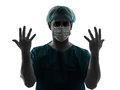 Doctor surgeon man portrait showing hands Royalty Free Stock Photo