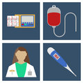 Doctor, thermometer, ECG, Blood Dpopper. Set of Medical object f