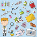 Doctor with tools sticker set Royalty Free Stock Photos