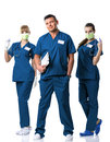 Doctor, two nurses in blue  dress Royalty Free Stock Photo