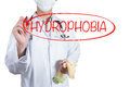 Doctor using pen draw circle on hydrophobia Royalty Free Stock Photo